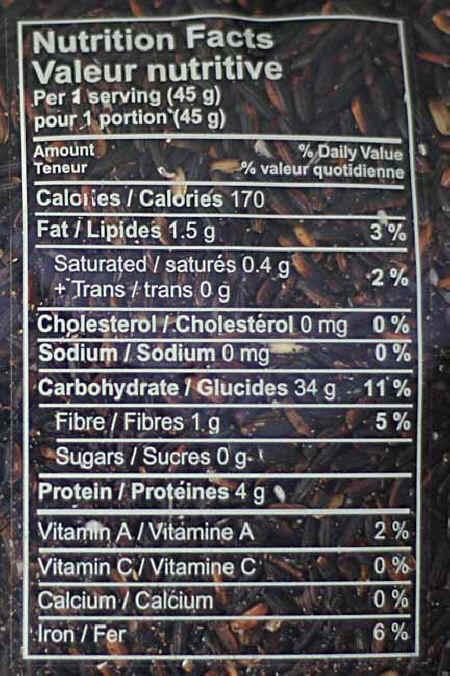 arroz negro Nutritional values